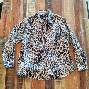 Jones New York Animal Print Black Gray Shirt 1X